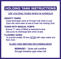 Holding Tank Information Label