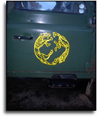 Finished tattoo logo on door of Landrover 110